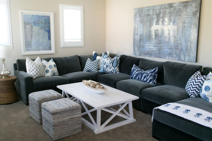 Dark Grey Velvet Sectional With Blue Pillows