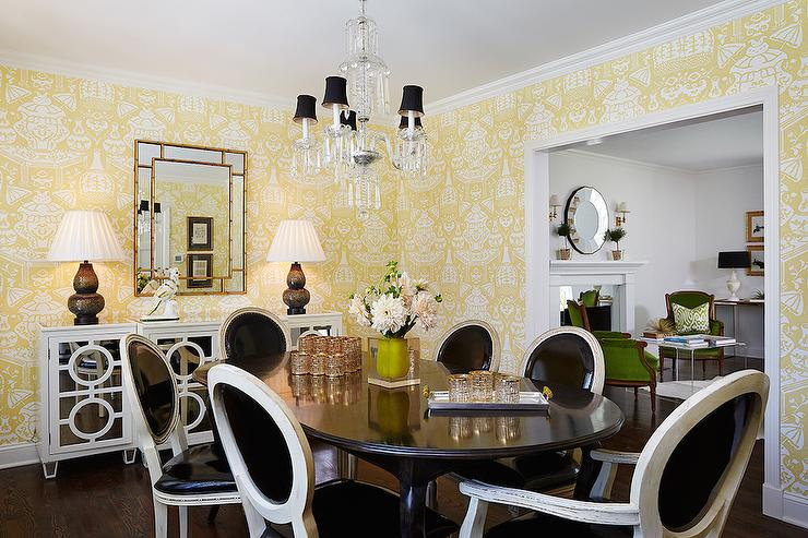 yellow and black dining rooms - transitional - dining room