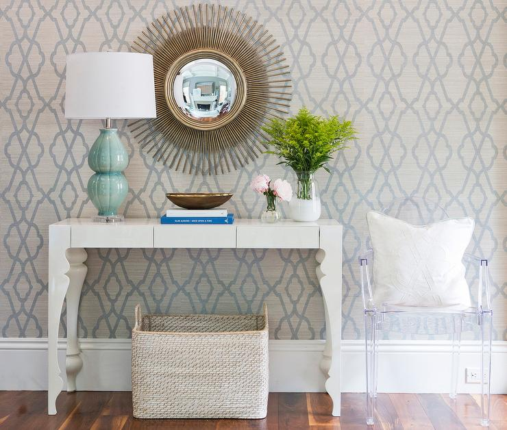 Wallpaper Foyer : Grey and blue trellis wallpaper transitional entrance