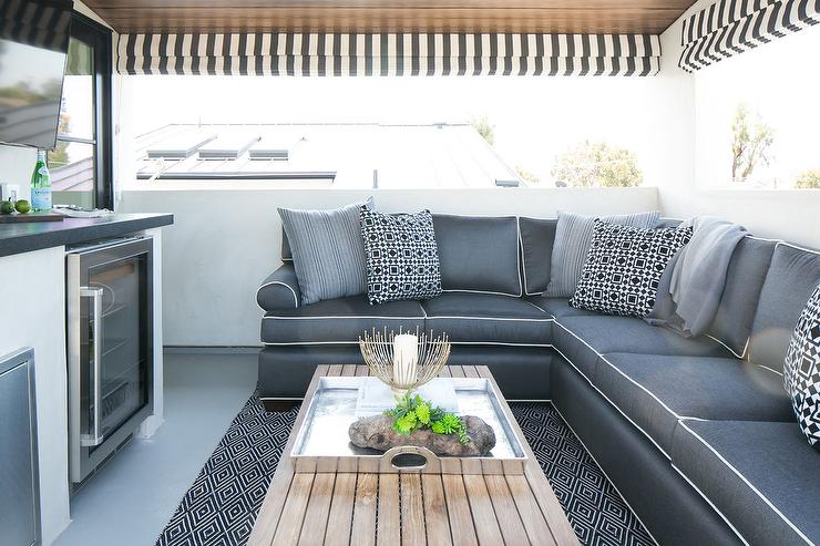 Gray Outdoor Sectional Transitional Deck Patio