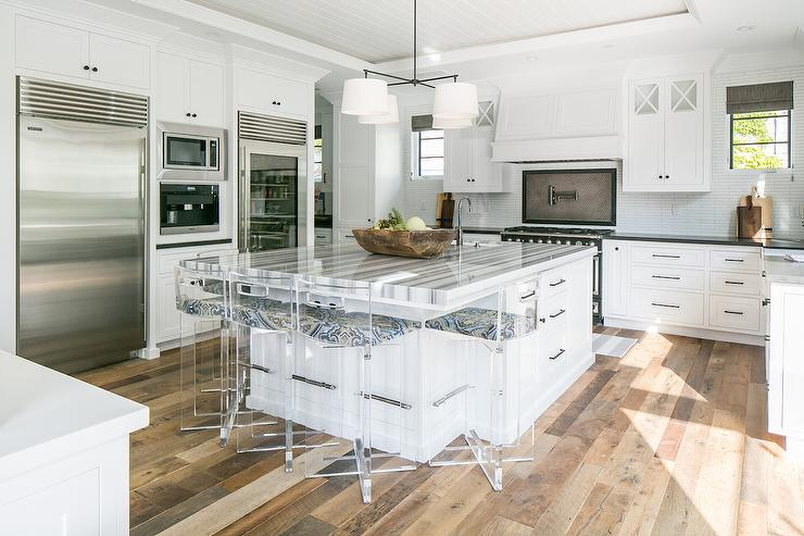 Gray Striped Marble Countertops Transitional Kitchen