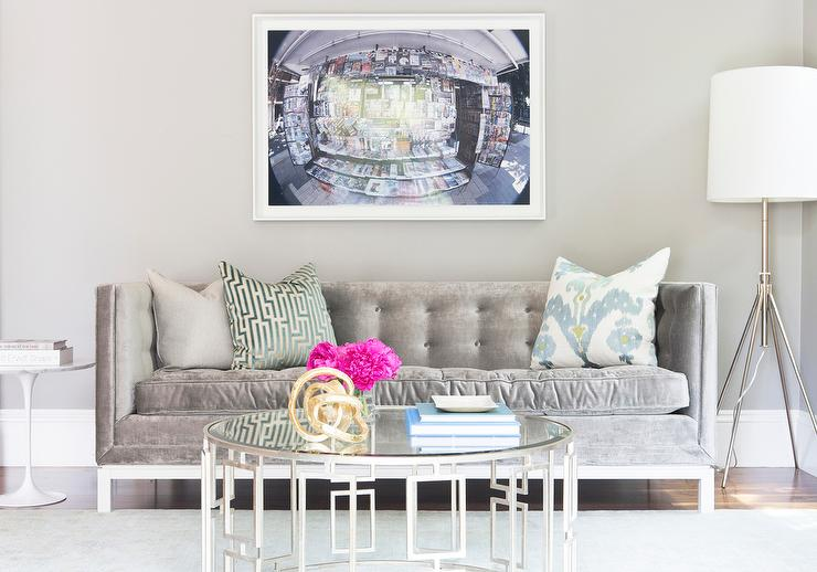 Nice View Full Size. Contemporary Living Room Boasts Art Over A Gray Velvet  Tufted Couch, Jonathan Adler Lampert ...