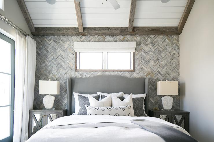 Gray Wingback Headboard With Gray Mirrored Nightstands