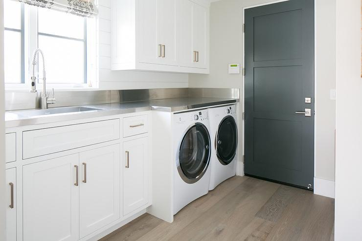 Countertop Options For Laundry Room : Laundry Room Stainless Steel Countertops - Transitional - Laundry Room