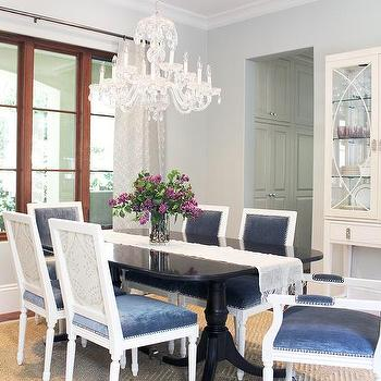Black Dining Table With Blue Velvet Chairs