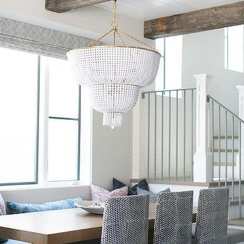 Beaded hanging table design ideas built in banquette with white beaded chandelier aloadofball Choice Image