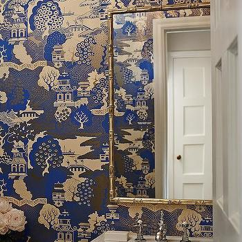 Chinoiserie Powder Room With Osborne And Little Summer Palace Wallpaper