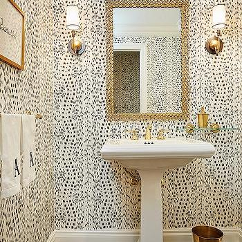 White Powder Room Sink With Gold Chain Link Mirror
