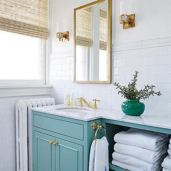 Turquoise Vanity With Gold Knobs