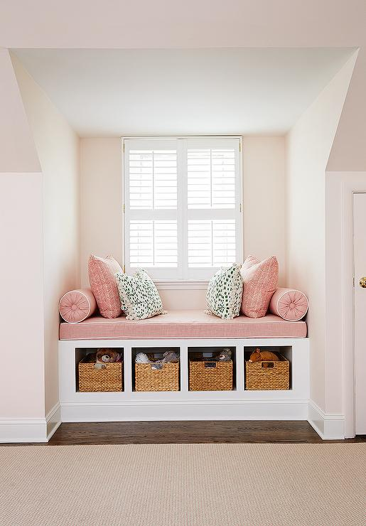 Kids pink window seat design ideas Window seat reading nook