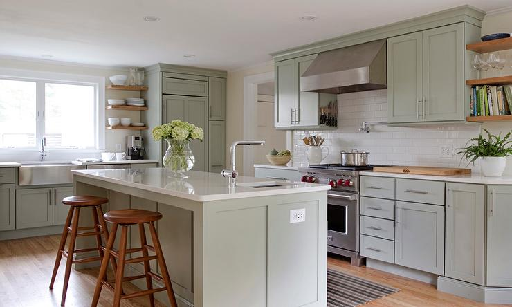 Sage green kitchen island floor to ceiling kitchen for Green kitchen cabinets