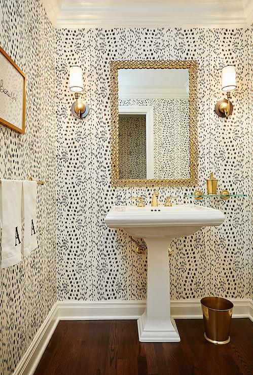Black And White Powder Room Contemporary Bathroom