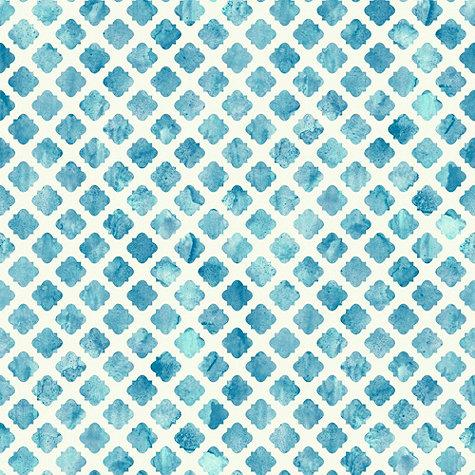 Watercolor Tile Wallpaper Blue And White Double Roll