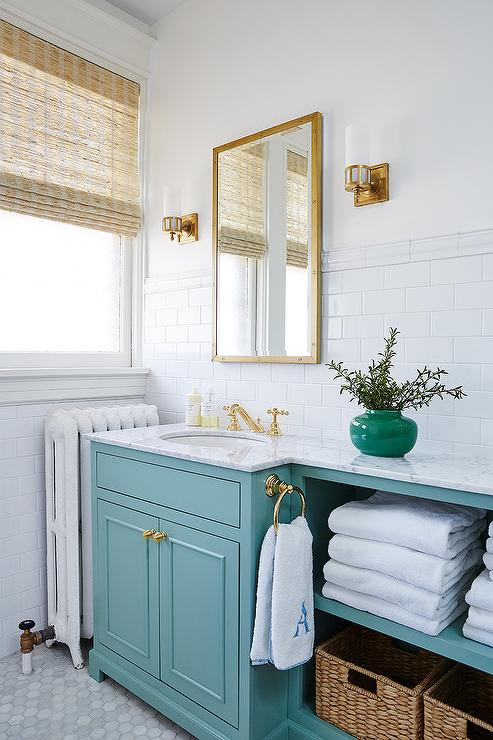 Turquoise Vanity with Gold Knobs - Turquoise Vanity With Gold Knobs - Transitional - Bathroom