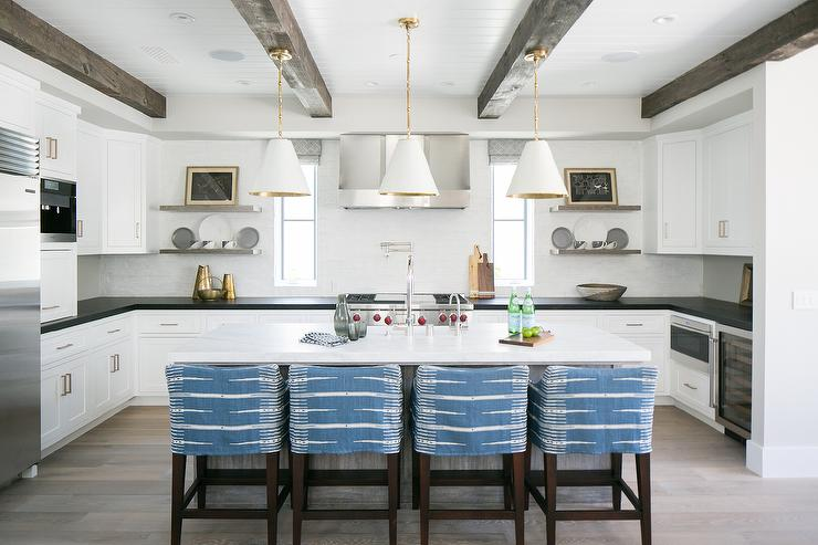 White And Gold Island Pendants Transitional Kitchen