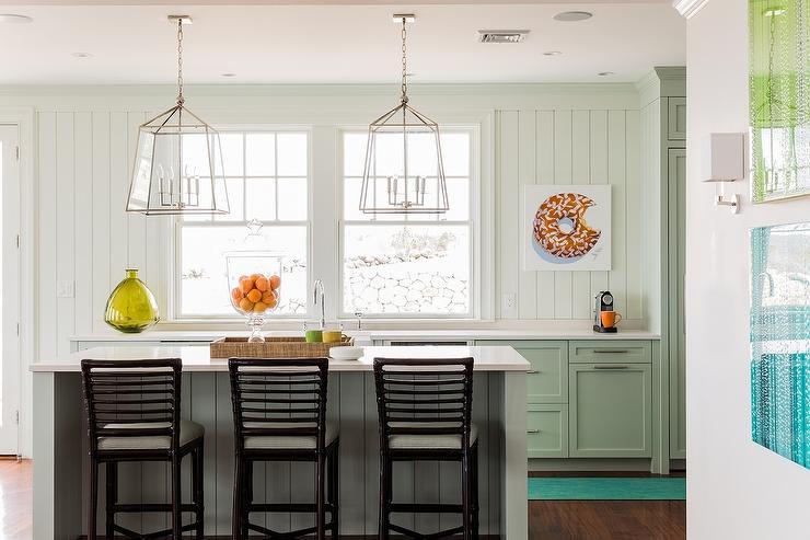 White Kitchen with Green Accents  Transitional  Kitchen  Matthew