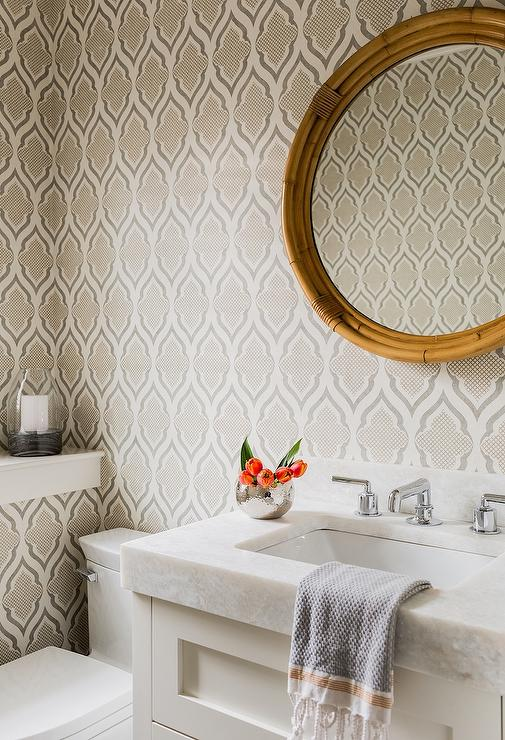 Elegant And Beautiful Bathroom Features Gray Moroccan Pattern Wallpaper Lined With A Round Wood Mirror Serena Lily Montara Placed Over White