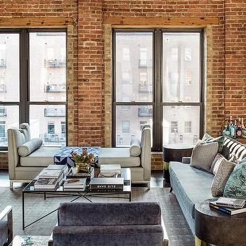 Loft dining room exposed brick walls design ideas for Exposed brick wall living room ideas