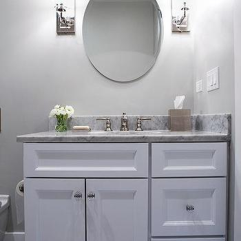 White Vanity With Glass Art Deco Knobs