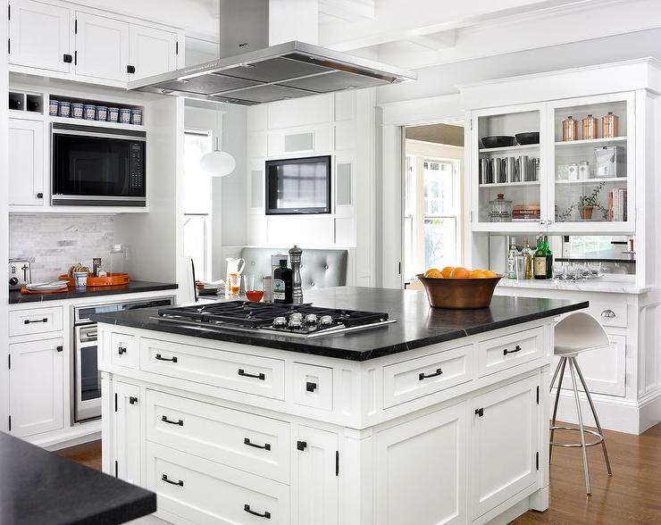 Center Island Vent Hood Transitional Kitchen