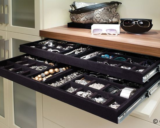 Lined Jewelry Drawers Design Ideas