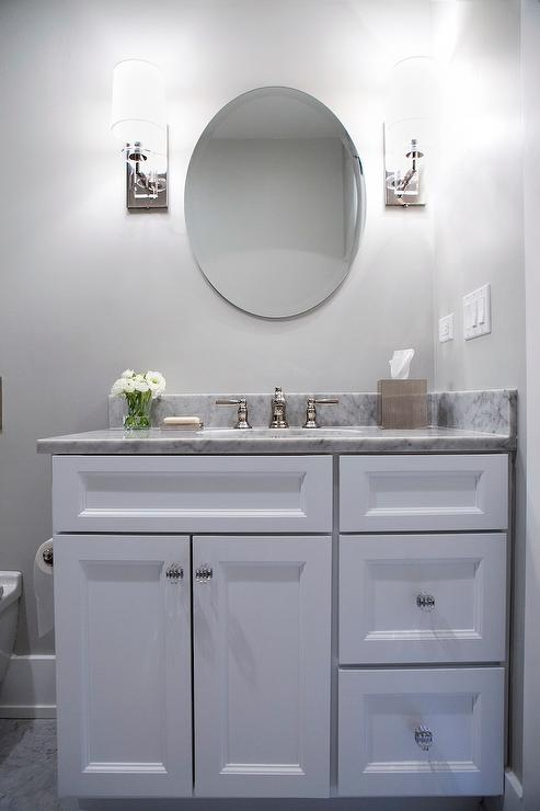 white vanity with glass art deco knobs - Bathroom Cabinets Knobs