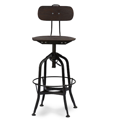Kersey Industrial Bar Stool With Backrest In Walnut And Black view full size