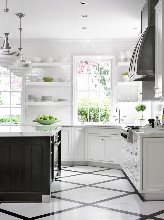 black and white floor tile kitchen. Amazing kitchen features a pair of schoolhouse pendants illuminating black  island topped with contrasting white marble Black And White Kitchen Floor Tiles Design Ideas