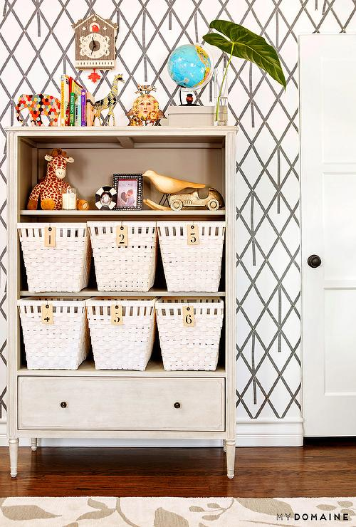 Mid Century French White Bookcase Contemporary Nursery