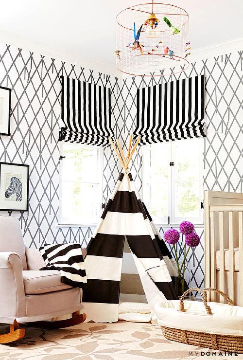Striped Nursery Transitional Nursery Sherwin