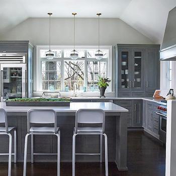 Arteriors Garrison Round Pendants View Full Size Contemporary Gray Kitchen Features A Cer Rift Sawn Oak