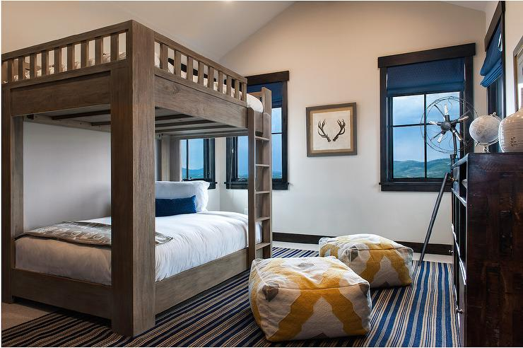 cabin bunk room with large bunk beds with queen matresses transitional boy 39 s room. Black Bedroom Furniture Sets. Home Design Ideas