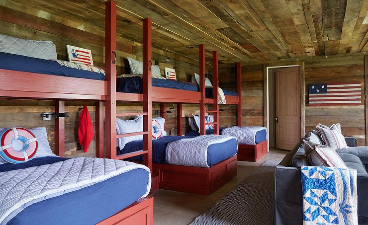 Red Bunk Beds With Blue Bedding Country Boy S Room