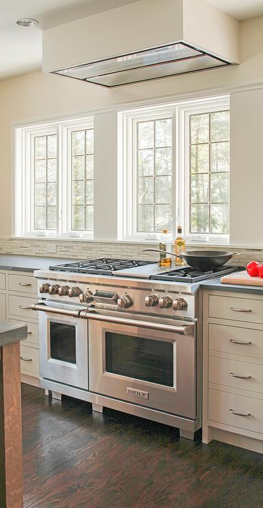 Windows Above Stove Transitional Kitchen