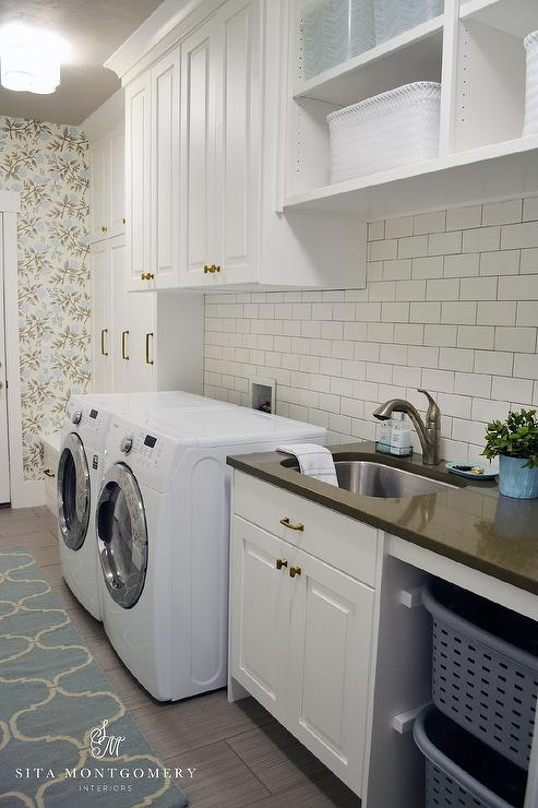White Laundry Room Cabinets With Gold Knobs Transitional
