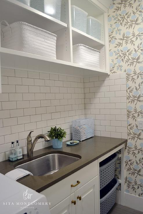 Wire Laundry Room Pull Out Baskets Transitional Laundry Room