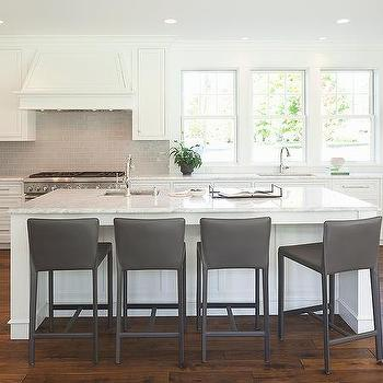 white kitchen cabinets with gray subway tile backsplash - Leather Counter Stools