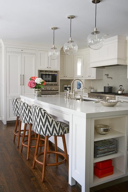 Beautiful Fabulous Kitchen Features A Long Center Island Fitted With End Cookbook  Shelves Topped With Pental Quartz Lattice Fitted With A Stainless Steel  Sink And ...
