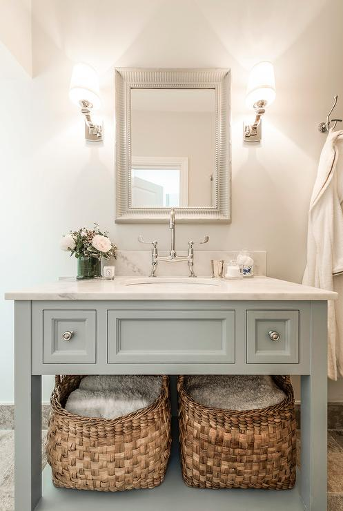 Blue Gray Vanity With Shelf Transitional Bathroom - Bathroom vanities with shelves