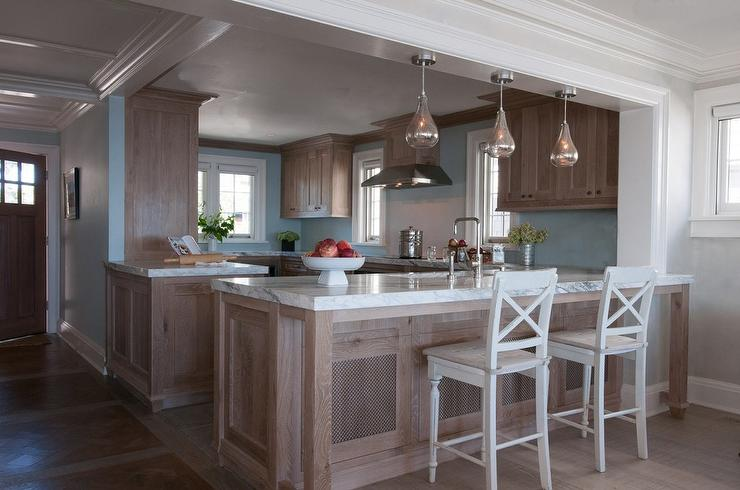 Brown And Blue Kitchens