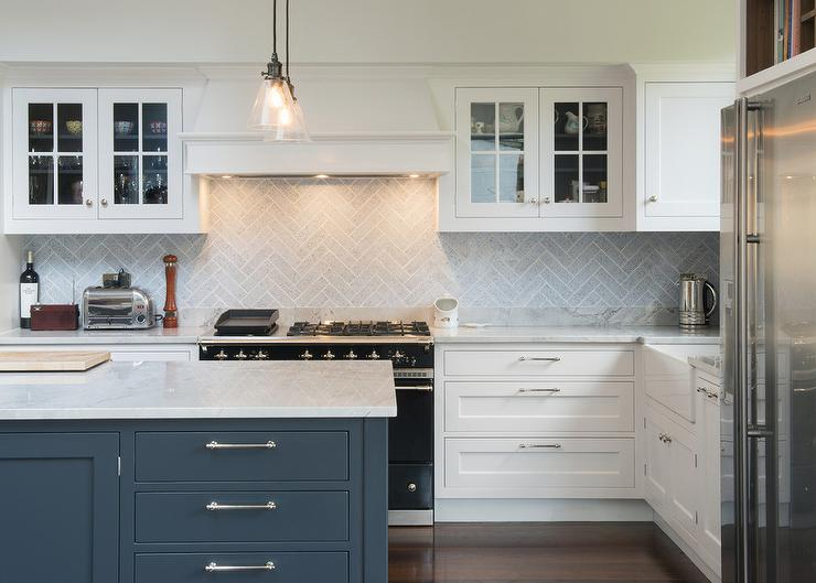 White Kitchen Herringbone Backsplash gray herringbone kitchen backsplash tiles - transitional - kitchen