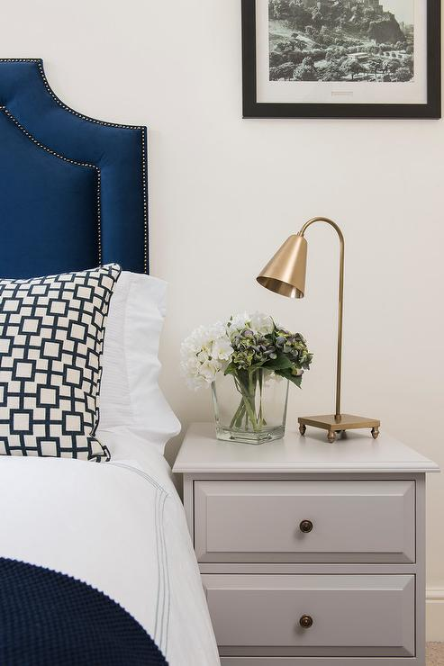 Blue velvet headboard and gray nightstand transitional for Blue white and silver bedroom ideas