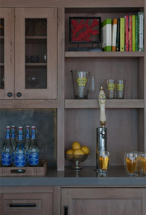 Wet Bar With Beer Tap Transitional Kitchen