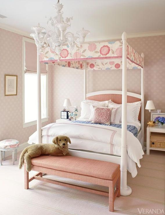 kids canopy bed with pink headboard transitional girl 39 s room. Black Bedroom Furniture Sets. Home Design Ideas