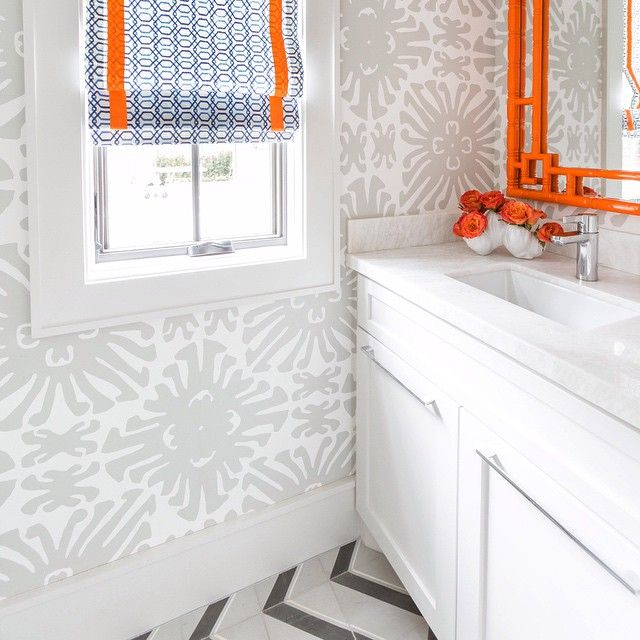Orange and gray floral bathroom wallpaper design ideas for Gray bathroom wallpaper