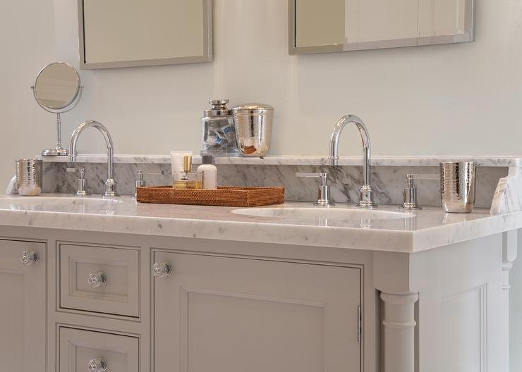 Gray Bathroom Vanity With Marble Backsplash Shelf Transitional - Bathroom vanities with shelves