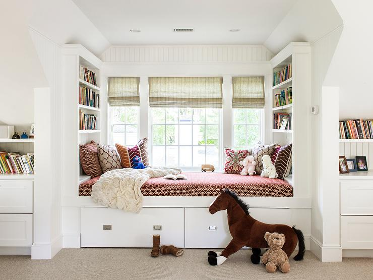 Kids Window Seat Daybed Transitional Girls Room