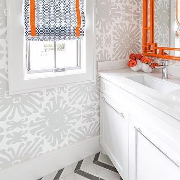 Gray And Orange Bathrooms