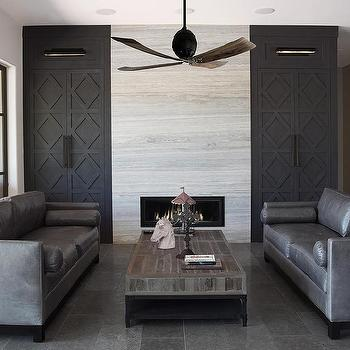 Cabinets With Black Diamond Pattern Doors View Full Size Contemporary Living Room Features A Ceiling Fan Over Gunmetal Gray Leather Sofas