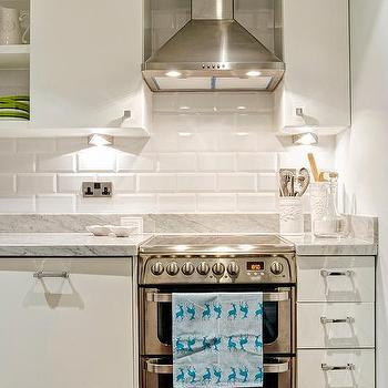 White Beveled Kitchen Subway Tiles